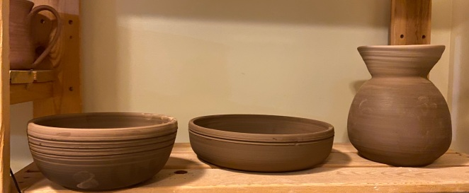 Shallow bowls and wonky vase.